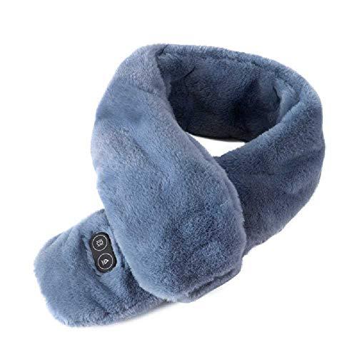 FHNLKFS Chal de calentamiento de hombro y cuello con USB recargable, protección para el cuello, bufanda inteligente de temperatura constante, calor caliente, bufanda de masaje, unisex azul y gris