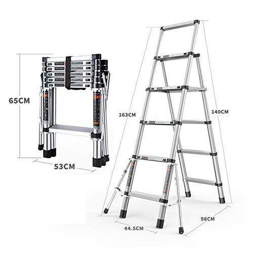 Multifunctionele telescopische ladder met stabilisator, antislip voeten, multifunctionele aluminium ladder voor telescopische ladder voor thuis, eenvoudig te dragen en op te bergen. 5 stappen.