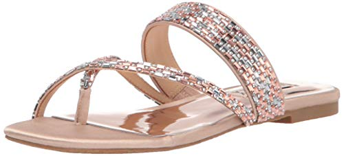 Badgley Mischka Women's Flat Sandal, Slide, Latte Satin, 10