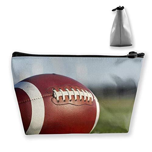 Trapezförmige Kosmetiktaschen Make-up-Kulturbeutel Rugby Football Print Reisespeicher-Tasche Telefon Geldbörse