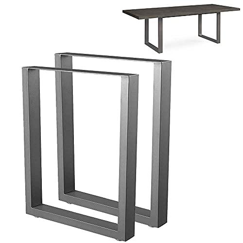 Bakaji Set 2 Gambe da Tavolo Dimensione 60 x 72 cm in Metallo Piedi per Tavolo da Pranzo e Scrivania con Piedini Antiscivolo Regolabili Design Moderno Industriale Colore Grigio