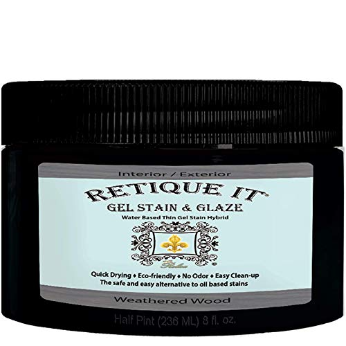Gel Stain by Retique It, Thin Water-Based Gel Stain/Paint Glaze and Wood Stain Hybrid (8 oz Stain,...