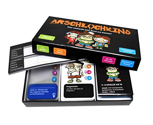 Arschlochkind I Erziehe Dein Kind so schlecht wie möglich I Witziges Kartenspiel I 3-6 Personen