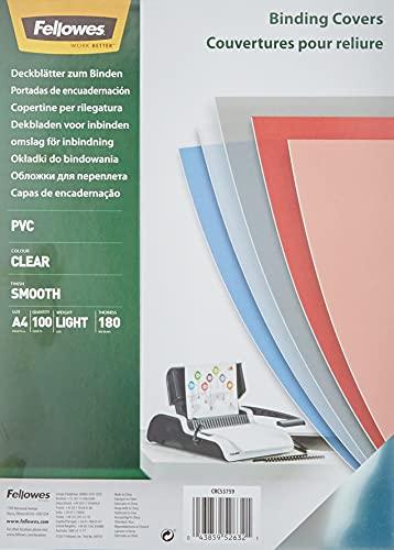 Fellowes Cristal - Portadas para Encuadernar de PVC Transparente, Formato A4, 180 Micras, Pack de 100
