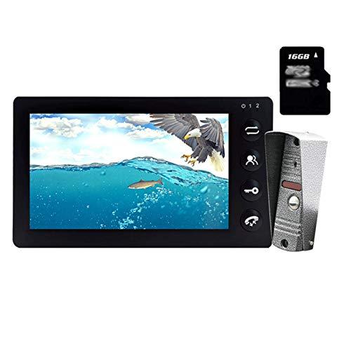DNAMAZ Portero Blanco Video Intercom System Kit de Puerta de 7 Pulgadas Monitor de Video Teléfono de Video Intercomunicador 1200TVL Grabación 16GB automatico (Color : Black Intercom Set)