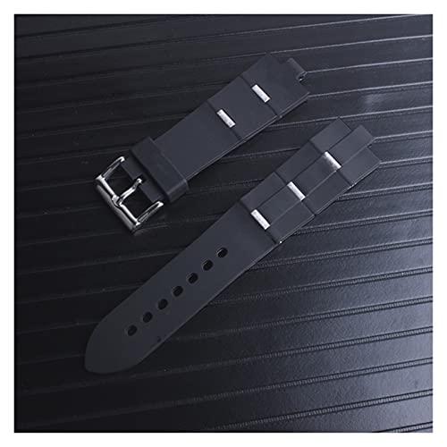 LIANYG Correa De Reloj Reloj de Canda Hombre Reemplazo de Goma Reloj Correa 22x8mm 24mm x 8mm 493 (Band Color : Silver, Band Width : 22mm)