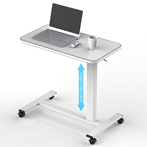 Reinforced Overbed Table with Lockable Wheels Portable Notebook Laptop Desk Bedside Table for Home Height Adjustment 29
