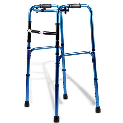 LHY-Rollator Faltbarer Walker, Standard-Walker für Senioren, Höhenverstellbar, Leichtgewicht Unterstützt bis zu 200 kg, Blau