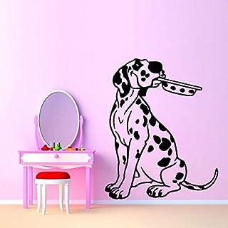 59.2 CM * 74 CM de dibujos animados de perro cachorro con tazón de PVC extraíble etiqueta de la pared decoración de la etiqueta