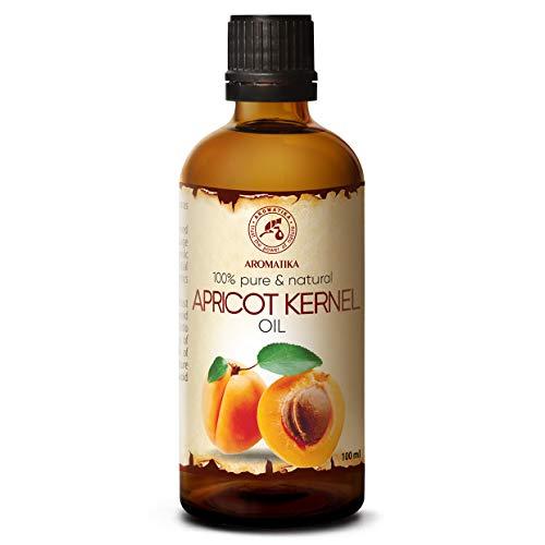 Aprikosenkernöl Kaltgepresst 100ml - Prunus Armeniaca Kernel - Italien - 100% Naturreines und Reines - Glasflasche - Basisöl - Aprikosenöl - Pflege für Gesicht - Haare - Massagen - Körperpflege