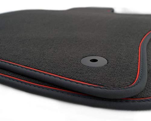 kh Teile Fußmatten (Velours), passend für A3/S3/RS3 (8V) Sportback, Premium Qualität Autoteppiche, schwarz, 2-teilig vorn, Zierband rot