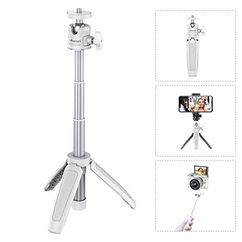 """Mini Portable Camera Tripod for iPhone/Samsung/Google Smartphone Clamp/Action Cam/Webcam, Lightweight White Handle Travel Tripod, 1/4"""" Vlogging Table Tripod Stand Video Shooting Photography Accessory"""
