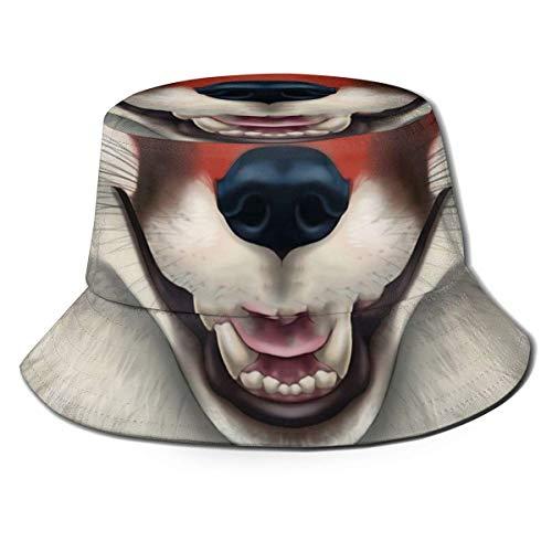 Sombreros de Pescador de Zorro Rojo Oscuro Gorra de Sol de Playa con Cubo de Viaje de Verano Enrollable Unisex