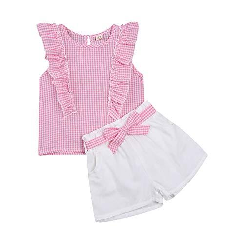Completo Estivo Bambina 2 Pezzi Tinta Unita Camicia a Quadri Manica Volant con Pizzo+Pantaloni Corto con Cintura con Fiocco (Rosa, 18-24 Mesi)
