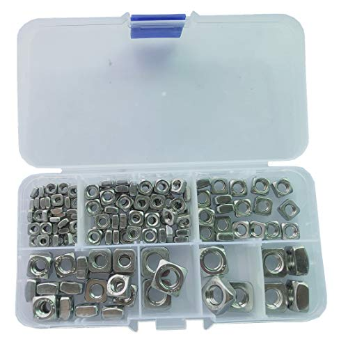 150pcs Metric M3 M4 M5 M6 M8 Square Nuts Assortment Kit,18-8 Stainless Steel Fastener
