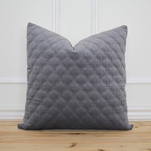 Camden - Federa per cuscino in velluto grigio strutturato con motivo decorativo 18 x 18 cm