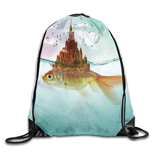 Borsa da palestra per borse sportive, Drawstring Bags Goldfish Castle Gold Fish Unisex Gym Drawstring Shoulder Bag Backpack Travel School Rucksack String Bags