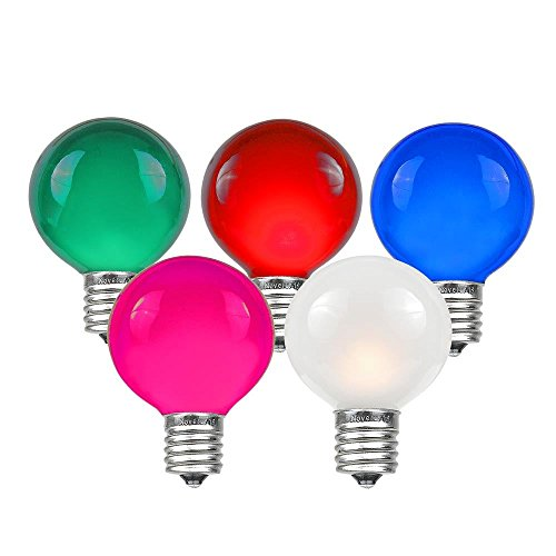 Novelty Lights 25 Pack G50 Outdoor Patio Globe Replacement Bulbs, Multi, E17/C9 Intermediate Base, 7 Watt