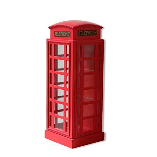 zenggp Caja del Teléfono De Inglaterra Estante del Gabinete De Vidrio Cabina Telefónica Roja Escaparate De Londres Madera Bar Decoración De Cafetería,A+Height67cm