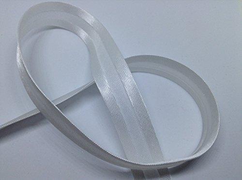 Cinta al bies de satén, color blanco, 18 mm x 2 m, ideal para costura, acolchado y manualidades.