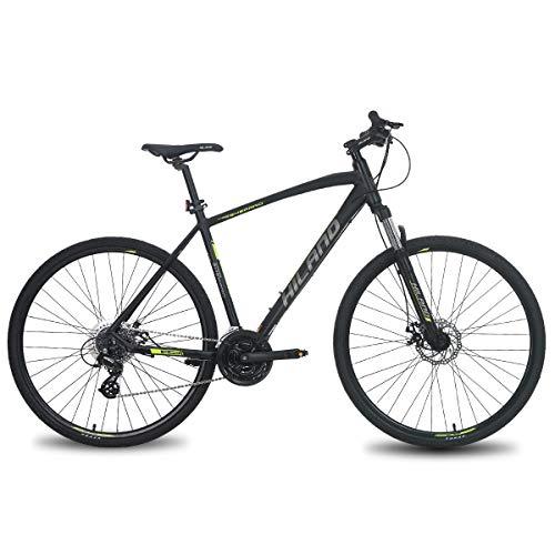 Hiland 700C Hybrid Bicycle Aluminum SHIMANO 24 Speeds with Suspension Fork Disc Brake City Commuter Comfort Bike Black&Yellow