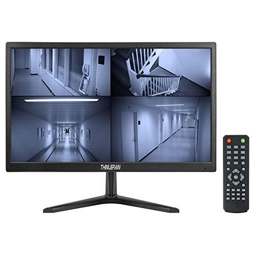 Thinlerain 20 Pulgadas Monitor CCTV Pantalla LED de 1600x900 PC Monitor con VGA/HDMI/AV/BNC/USB, Altavoz Integrado, 5 ms / 60 Hz, Montaje en VESA