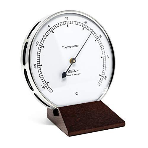 Fischer 117.01-22 - Thermometer für Innen - 103mm Bimetall-Thermometer aus Edelstahl mit Holz-Standfuß Made in Germany
