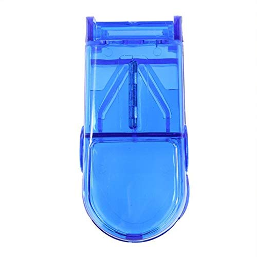 QXTT Tablettenteiler Fiir Kleine Tabletten Vierteln Tablettenschneider Mit Edelstahlklinge Pillenschneider Für Kleine Und Große Tabletten Aufbewahrungsfach Transparent,Blue