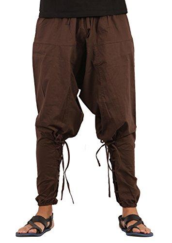 THE HAREM STUDIO Hombre Mujer Pantalones Harem Unisex Bombachos Ligeros, Hippies, de algodón, Casuales, Boho, Hechos a Mano para Yoga - Estilo Samurái (Marrón)