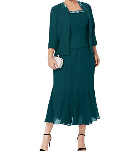 Charmant Damen Wadenlang Etuikleider Abendkleider Ballkleider Brautmutterkleider Partykleider mit Jaket Aus Chiffon -46 Dunkel Tuerkis