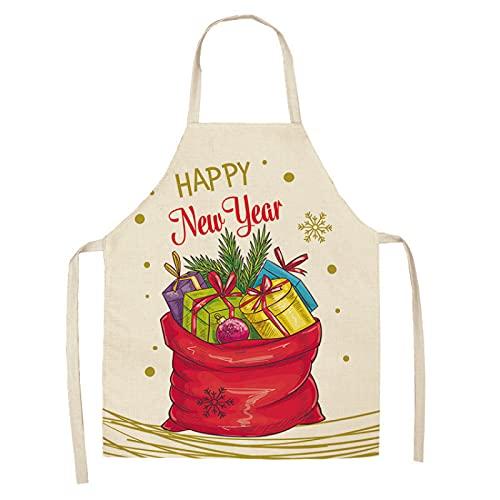 Delantal De Decoración Navideña El Material De Lino Es Impermeable A Prueba De Aceite Lavable Adecuado para Cocina Restaurante Floristería Cafetería