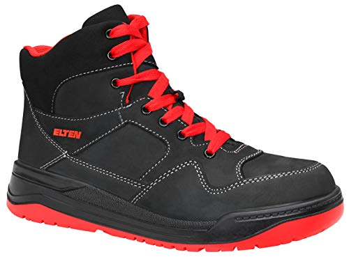 ELTEN Sicherheitsschuhe MAVERICK black-red Mid ESD S3, Herren, sportlich, Sneaker, leicht, schwarz/rot, Stahlkappe - Größe 43