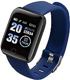 Reloj inteligente con frecuencia cardíaca, reloj deportivo, correa de presión arterial, resistente al agua, reloj inteligente Android (color: verde) y azul