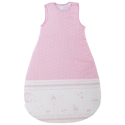 Baumwolle Schlafsack Glücksengel 90 cm lang, süsse Engelbedruckung in rosa - Kinder Kleinkind Baby Winter