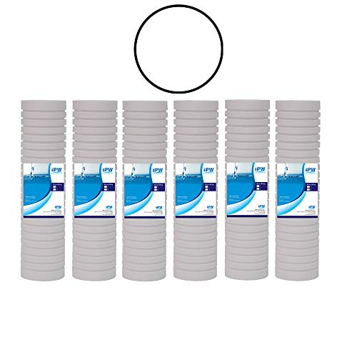 IPW Industries Inc Compatible for WHKF-GD05 Whirlpool, 3M Aqua-Pure AP110 Filter, Grooved 5 Micron Water Filter Cartridges Set of 6, O-Ring for WHKF-DWHV, WHKF-DWH, WHKF-DUF