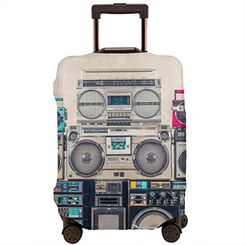 Travel Suitcase Protector,Retro Old School Design Ghetto Blaster Stereo Radio Cassette Tape Recorders Boombox Tower from Circa,Suitcase Cover Washable Luggage Cover L