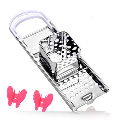 Stainless Steel Spaetzle Noodle Dumpling Maker with 2 PCS silicon Heat Resistant Plate Dish Clips