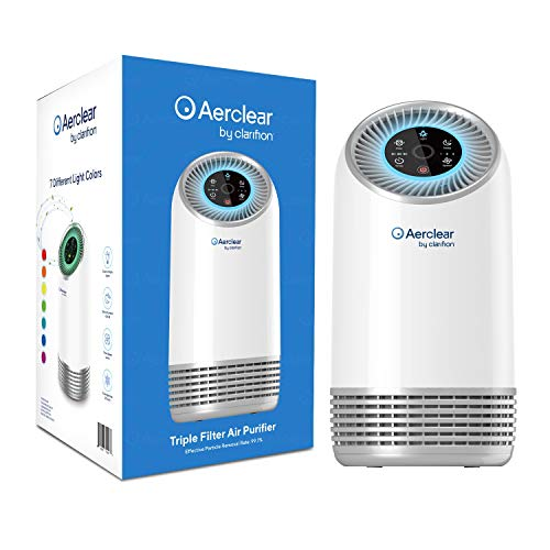 Clarifion AerClear Air Purifier (2-Pack) HEPA Air Purifier for Home & Office, 3-Stage Filtration Filters 99.9% Air Particles, Trap Germs, Virus & Bacteria