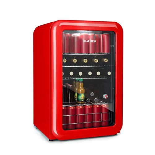 KLARSTEIN PopLife - Frigorifero per Bevande Retrò, Classe F, Volume 115 Litri, 0-10 °C, Porta con Doppio Vetro, Luce LED, 39dB, Frigo Retró, Mini-Frigo, Color Rosso