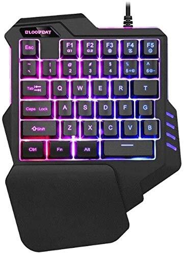 Teclado para juegos Elegante teclado portátil RGB teclado portátil de juegos Un teclado y el ratón for mano Combo, 35 llaves mini juegos controlador de teclado ergonómico Juego for PC del jugador de X