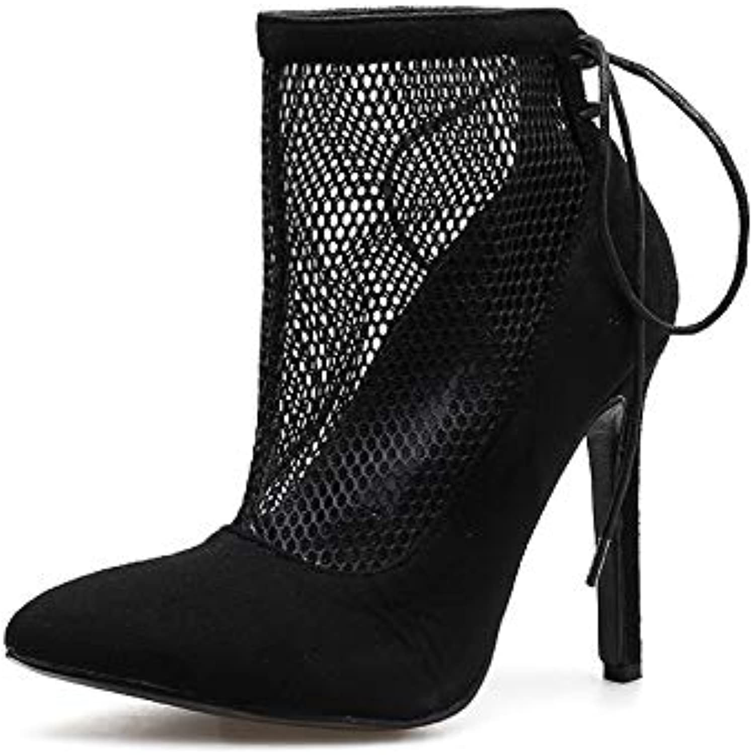 Women's Sandals - Fashion High-Heeled Mesh Openwork Cool Boots Pointed Strap Black Joker shoes