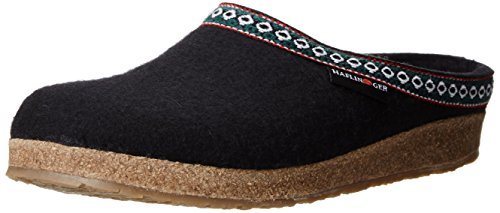 Haflinger GZ Classic Grizzly Clog, Black, 40 (US Men's 7, US Women's 9) Medium