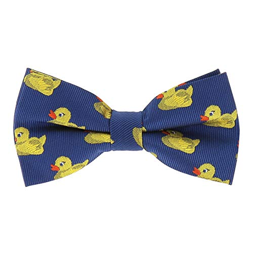 SHIPITNOW Pajarita de Patitos Amarillo y Azul - Pajarita de Patos de Tela Jacquard Original y Elegante - Modelo pre-atada para Hombre o Mujer - Talla única 12cm x 6cm - Patrón de Pollitos, Patos