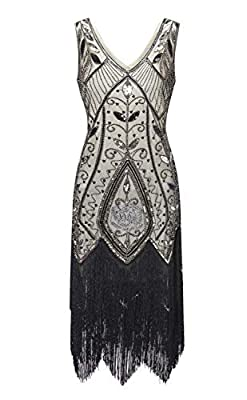 Women's 1920s Great Gatsby Beaded Inspired Sequined Embellished Vintage Fringed Party Flapper Dress