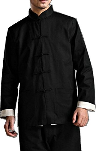 ZooBoo Kung Fu Jacket Both Sides Wear Tops Martial Arts Long Jersey (XXL, Black with Beige)