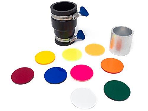 Lumenman Filter Set Light Painting – Groß mit Hood: 9 Farbfilter + 3 neutrale Scheiben + Connector und Hood, 47mm Durchmesser