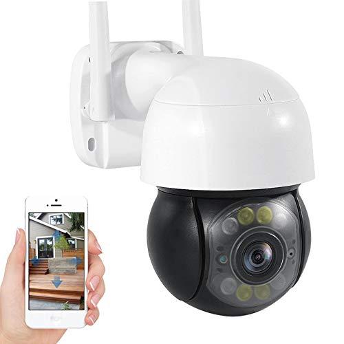Cámara de vigilancia IP exteriores,Cámara de seguridad WiFi,1080P HD PTZ CCTV Cámara,visión nocturna,alarma,detección de movimiento,audio de 2 canales,Onvif,IP66 impermeable (Cámara+tarjeta TF de 32G)