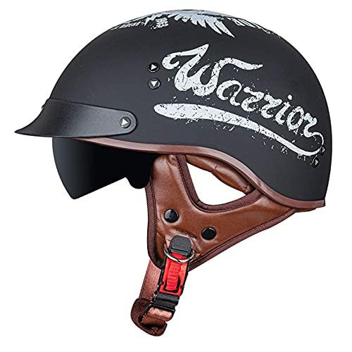 Medio Casco de Motocicleta Casco de Cara Abierta Jet con Visera Casco de protección contra Rayos UV Gorra de Seguridad Casco de Motor Estilo Retro Vintage
