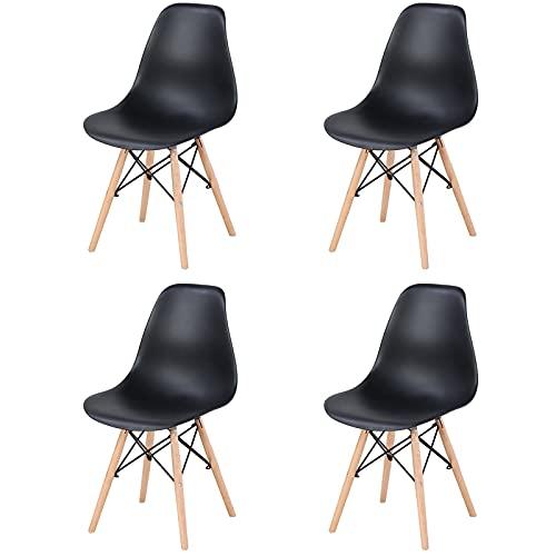 4er-Set Wohnzimmerstühle/Esszimmerstühle/Schreibtischstühle/Bürostühle/Freizeitstühle/Stühle aus natürlicher Buche mit ABS-Rückenlehne,Schwarz