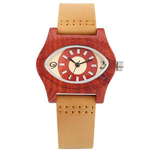 Elegante Reloj de Madera roja con Forma de Ojo para Mujer, Relojes de Cuero marrón para Mujer, Reloj de Madera de Moda para Mujer, Regalos, Rojo